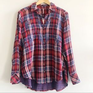 Free People | Magical Plaid Red Button Up Shirt XS